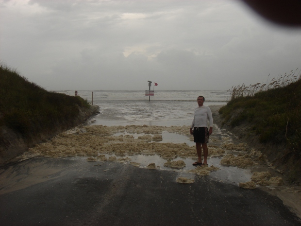 the atlantic coming onto the road at st. augustine beach