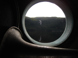 the rock from our boat's porthole