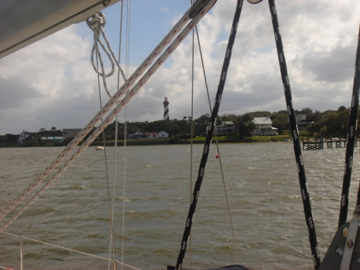 st. augustine lighthouse seen from the Ace Lady, a friend's sailboat