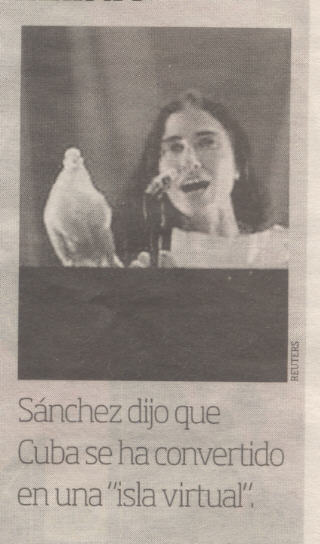 yoani sanchez speaks out, featured in argentinian newspaper, 2 april '09