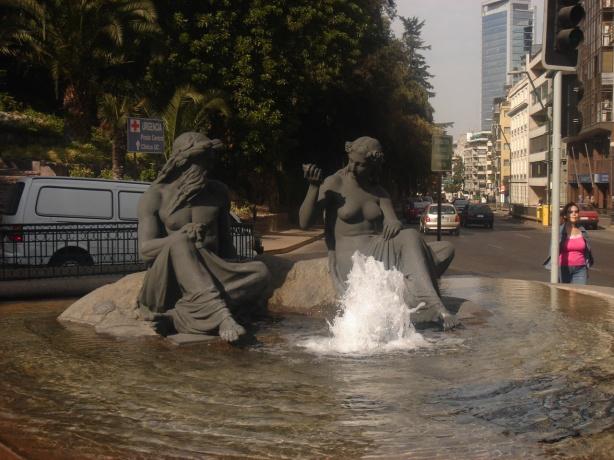 Neptune and Aphrodite, Santiago, Chile public art fountain