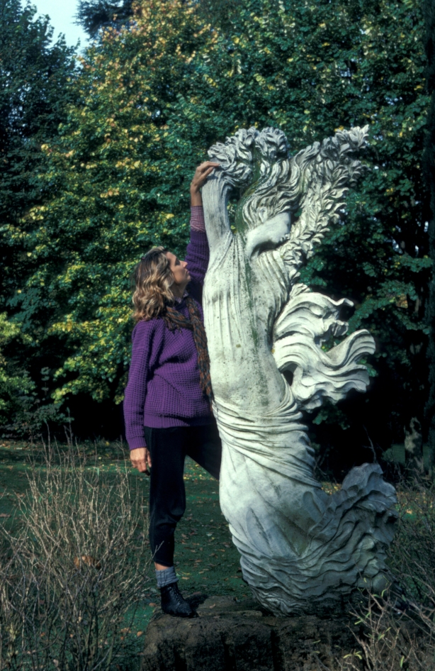 """the """"real"""" Civitas (the model) with another of her sisters-in-myth, Daphne, in an English garden somewhere near Wales"""