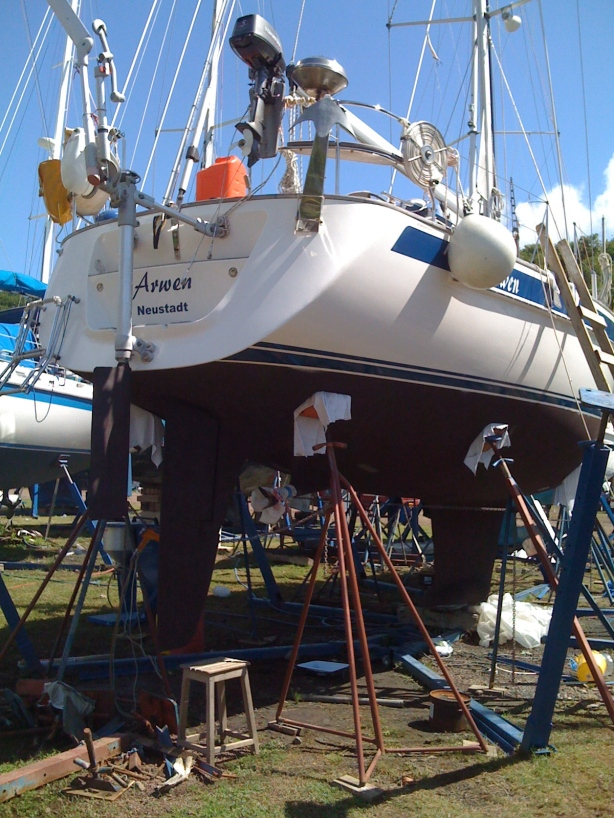 arwen up on drydock for bottom painting, etc.