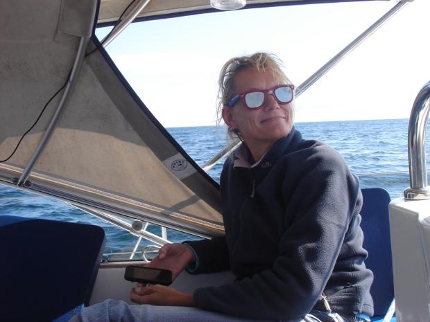 dani wearing anti-seasick glasses