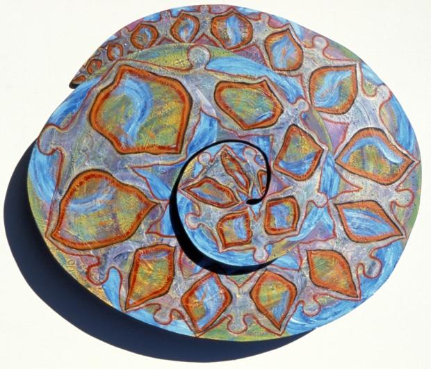 "Spiral #9, mixed media, 32""x45""x7"""