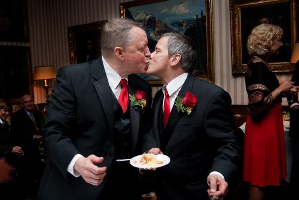 Gene and Nat at their Harvard Mem Hall wedding