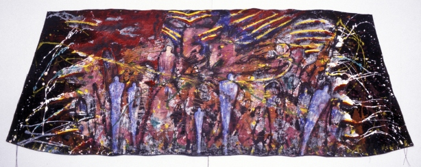 """Guardian of the People, mixed media, 27""""x60"""""""